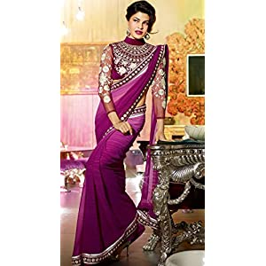 Saree Galaxy Jacqueline Fernandez Saree - Purple