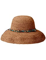 Scala Women's Crocheted Raffia Hat with Beads, Tea, One Size