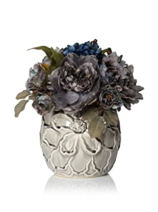 Laura Ashley Faux Hydrangea and Peony Arrangement (Grey/Blue)