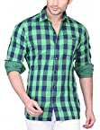 TERZI Men's Slim Fit Cotton 2 Side Wearable Wear Shirt (14070027A_Green_XX-Large)