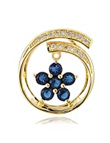Auragram gold plated pendant with flower design studded with cubic zirconium stones