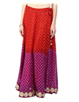 Zoyei Women's Faux Georgette Sharara(HB9_Red and Purple_Free Size)