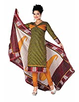 Divisha Fashion Yellow Cotton Printed Churiddar Suit with Dupatta