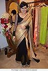 Designer Mandira Bedi Black and Golden Half and Half Saree