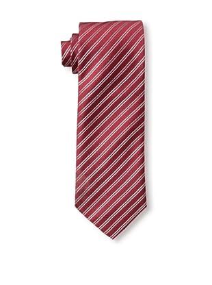 Rossovivo Men's Striped Tie, Red/Grey