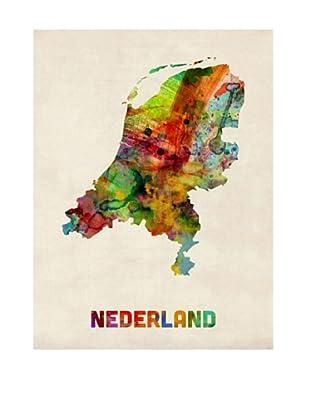 Trademark Fine Art Netherlands Watercolor Map by Michael Tompsett