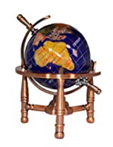Unique Art 6-Inch Tall Blue Lapis Ocean Mini Table Top Gemstone World Globe with Copper Tripod