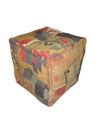 Boheme Collection Wool Jute Pouf, Cube, Multi