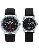 IIK Collection Pair of Round Black Dial with Black Leather strap Men's Watch & Black Dial & Black Leather strap Women's Watch IIk-502M-1503W