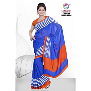 Satrang Femina Weightless Georgette Blue Sarees - FM 2224