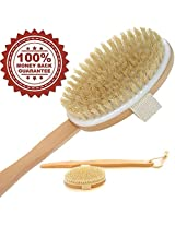 SALE 20% OFF + FREE Shipping! Bath Body Brush with Natural Bristles Exfoliating Dry Skin Brushing. Extension Long Handle for Back Scrubber Detachable Hand Grip Handle with Strap