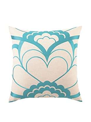 Trina Turk Deco Floral Embroidered Pillow (Blue)