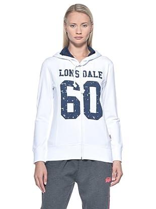 Lonsdale  Ladies Hooded Stretch Zip felpa (Bianco)