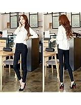BURNN Women Casual Slim Fit Stretchable Lace Flower Leggings Skinny Tight Pants (Black, L)