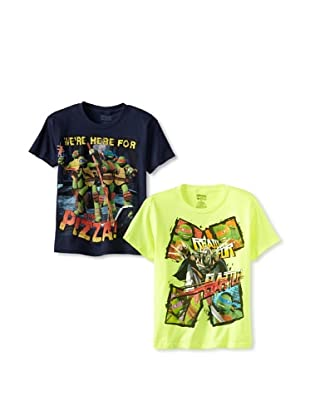 Freeze Boy's Teenage Mutant Ninja Turtles 2 Pack T-Shirt Bundle (Neon Yellow Heather/Navy)