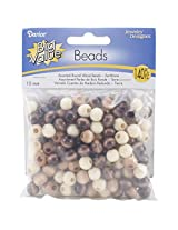 Darice Round Earth Tones Wood Beads (140 Pack), 10mm