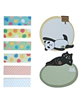 Very Cute And Nice Shaped Sticky Notes Set OF 2 (20 Pcs each) & Book Marks Set OF 6 (20 Pcs each) Lazy Cat