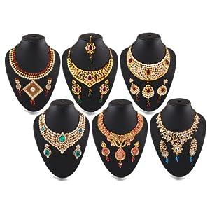 Pack of 6 Bridal Kundan Necklace Sets by Variation