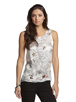 Paperwhite Women's Sunset In Santorini Printed Silk Tank Top (Multi)