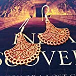 Engraved gheroo earrings in orange gold shades