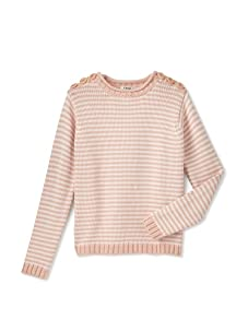 Chloe Girl's Striped Sweater with Buttons (Salmon)