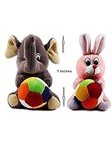 Rushi Enterprise Combo Rabbit and Elephant Cute Teddy Soft Toy kids birthday (19 cm)