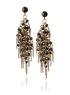Joanna Laura Constantine Black & Gold Multi Stone & Strand Earrings