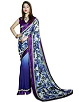 Vibes Georgette Patch Work Saree (S16-5005 _Multi-Coloured)