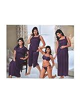Indiatrendzs Sexy Hot Silk Satin Nighty Blue 6 pc Sets Bedroom Women's Sleepwear -Free Size