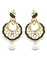Black Stone, White Synthetic Pearl & White Stone Gold Plated Peacock Shape Dangle Earrings
