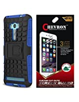 Chevron Tough Hybrid Armor Back Cover Case with Kickstand for Asus Zenfone 2 Laser 5.0inch ZE500KL with HD Screen Guard (Blue)