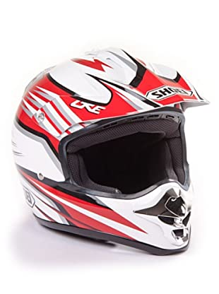 Shoei Casco V-Moto Grafica (Blanco / Rojo)
