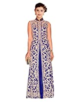Clickedia Women's Faux Georgette Blue Gown with Heavy Emboidery - Dress Material
