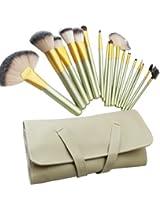 18Pcs Pro Cosmetic Makeup Brush Set Eyeshadow Blush Lip Soft Cream Pu Leather Case Bag