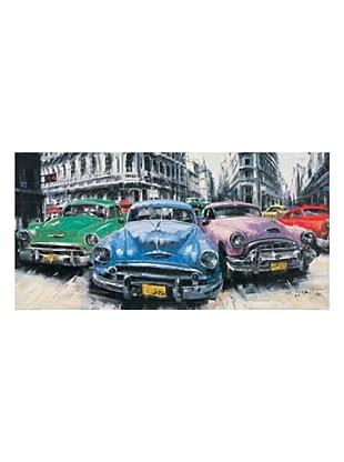 ArtopWeb Panel de Madera Massa Classic American Cars in Havana 50x100 cm