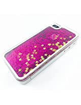 Phoenix Bling Sparkle Glitter Stars Dynamic Liquid Quicksand Clear Hard Case Frame for iPhone 4 4s 4g - Hot Pink