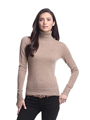Cashmere Addiction Women's Long Sleeve Turtleneck Sweater (Sable)