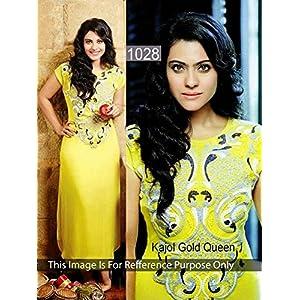 Kajol Yellow Faux Georgette Anarkali Gown