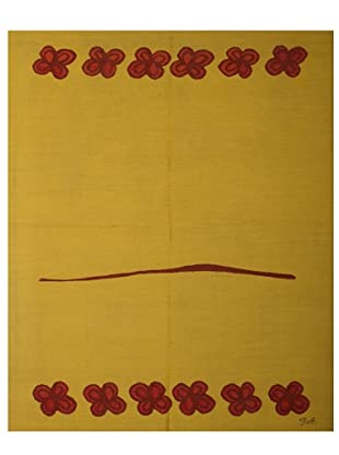 French Accents Modern Flatweave Killim Rug (Mustard/Red)