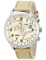 Timex Men's T2P382 Intelligent Quartz Fly-Back Chronograph Beige Leather Strap Watch