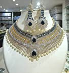 Necklace sets - American Diamond Bangles, Blue stones embedded