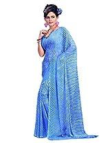 Vibes Chiffon Patch Work Saree (S35-405A _Blue)