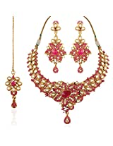 I Jewels Traditional Gold Plated Kundan Necklace Set with Maang Tikka for Women K7051Q (Rani/Pink)