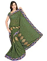 Chinco Embroidered Saree With Blouse Piece (503-B_Green)