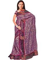 Black and Purple Shimmer Sari with Velvet Applique Paiselys - Georgette