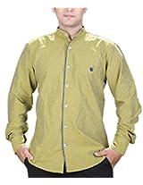 SPEAK Men's Gold Plain / Solid Mandarin / Chinese Collar Casual Shirt (38, Gold)