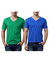 TeeMoods Pack of Two Men's V Neck Tshirts-Green n Blue_TM-C-1549PGRN-BLU-S