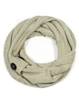 Dahlia Women's Loop Scarf - Button Accent Cable Knit - Cream