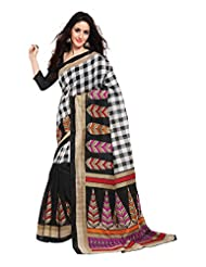 Indian Designer Art Silk Black Printed Saree - B00MN65YDM
