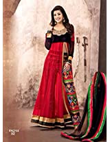 New Designer Attractive Red And Black Anarkali Suit